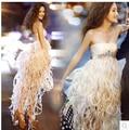 Luxo branco vestido de palco ds Moda traje DJ Cantora Uma peça Vestido líder de Jazz desgaste da dança