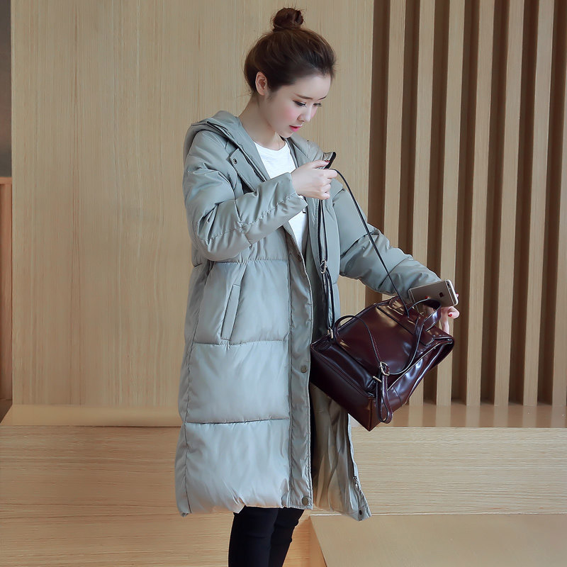 ФОТО 2016 Winter Student New Fashion Causal Medium Long Size Hooded Long Sleeve Solid Color Thicken Women Coat