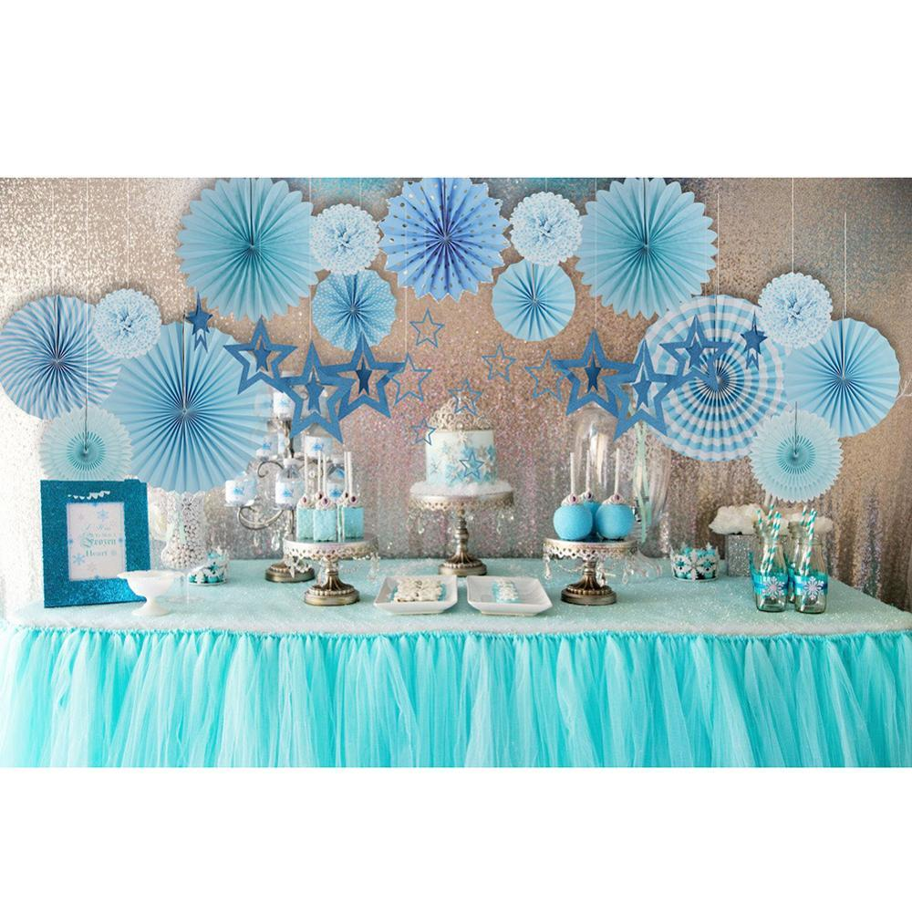 12pcs Blue Paper Decorations Set Hanging Star Ornaments Garland Paper Fans Rosette Baby Boy Shower Birthday Party Supplies in Party DIY Decorations from Home Garden
