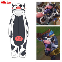 New Game League of Legends Alistar Cosplay Costume LOL Support Cow Pajamas Bathrobe Child Adult Warm Thicken Sleepwear Jumpsuits