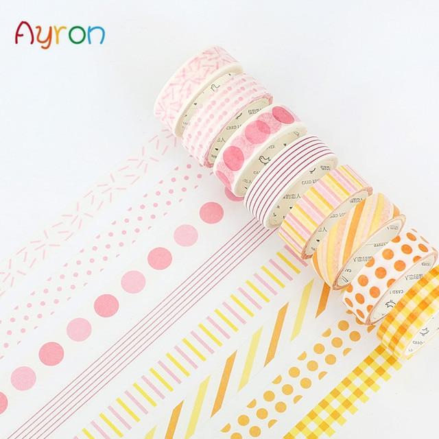 15mm * 7 m básico de papel arco iris washi cinta de decoración de color cinta adhesiva pegatinas Scrapbooking suministros escolares