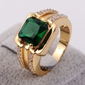 New Style Fashion Brand Men's Deluxe Jewelry Green Stone Yellow Gold Filled Super Ring for Party Gift Size 8,9,10,11