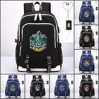 Harri Potter Harry Gryffindor/Hogwarts Slytherin Ravenclaw Hufflepuff USB Charging Port Backpack Laptop Shoulders Bag Travel Bag