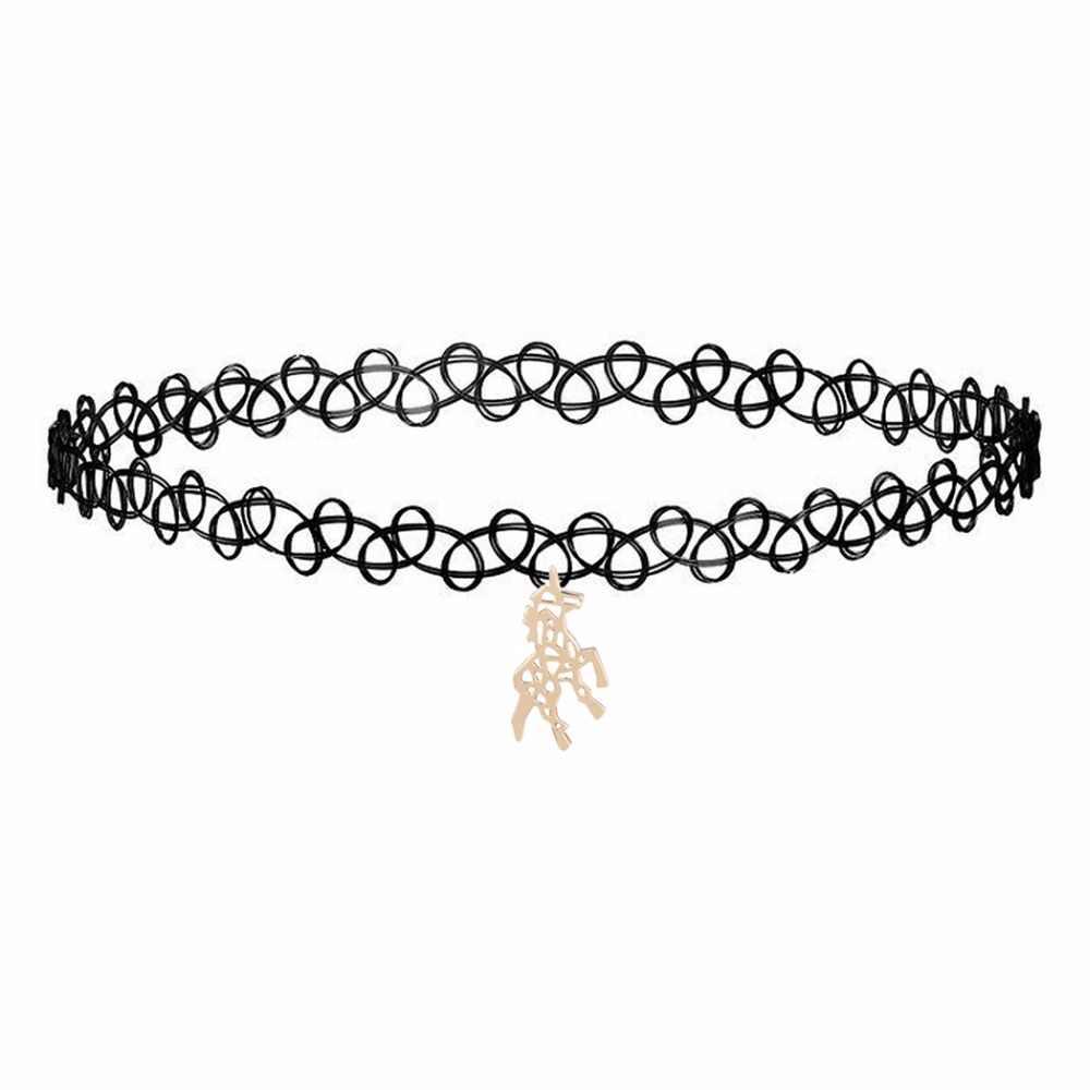 Kinitial moda gargantilha colar preto rendas mulher menina crianças colar festa jóias pescoço unicórnio lua dna pinguim pingente colar