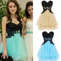 Cute Short Petite Homecoming Dresses Sweetheart Empire Appliques Satin Tulle Mini Length Corset Backless Party Dresses CZ02