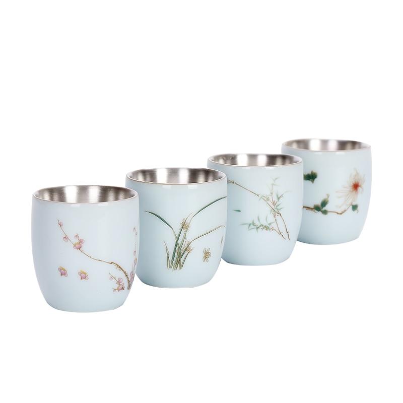 Celadon Xícara de Chá Kungfu Teaware Cerâmica Taça de Prata Pura Prata 999 Genuíno Artesanal Criativa Xícara De Chá de Prata
