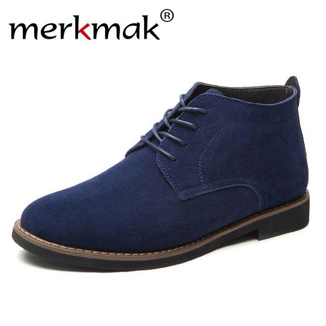 Merkmak الأزياء جلد أصلي للرجال حذاء من الجلد 2018 الدانتيل يصل الرجال الخريف الأحذية الأحذية في الهواء الطلق عارضة الرجال الشتاء الأحذية بوتاس أوم