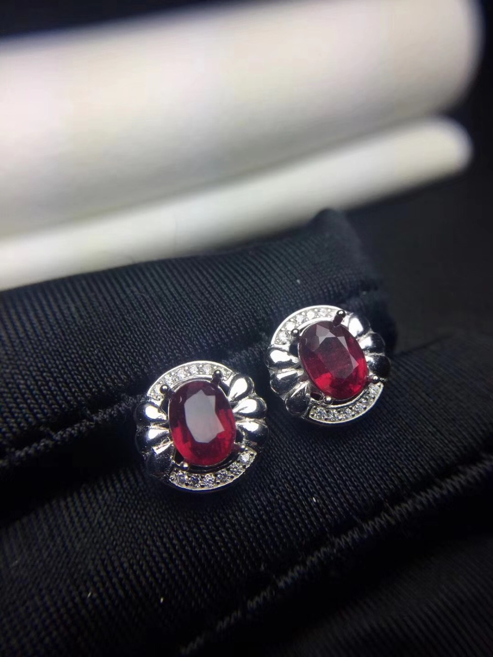 Natural ruby stud earring Original real ruby 925 sterling silver 5*7mm*2pcs gemstone For men or women