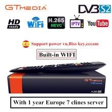 Gtmedia v8 nova DVB-S2 FTA Satellite Receiver Freesat v8 with Europe Cccam 7 lines for 1 year Support H.265 Built-in WiFi free