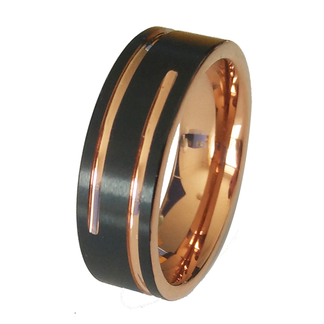 Tungsten Ring Black with Rose Gold