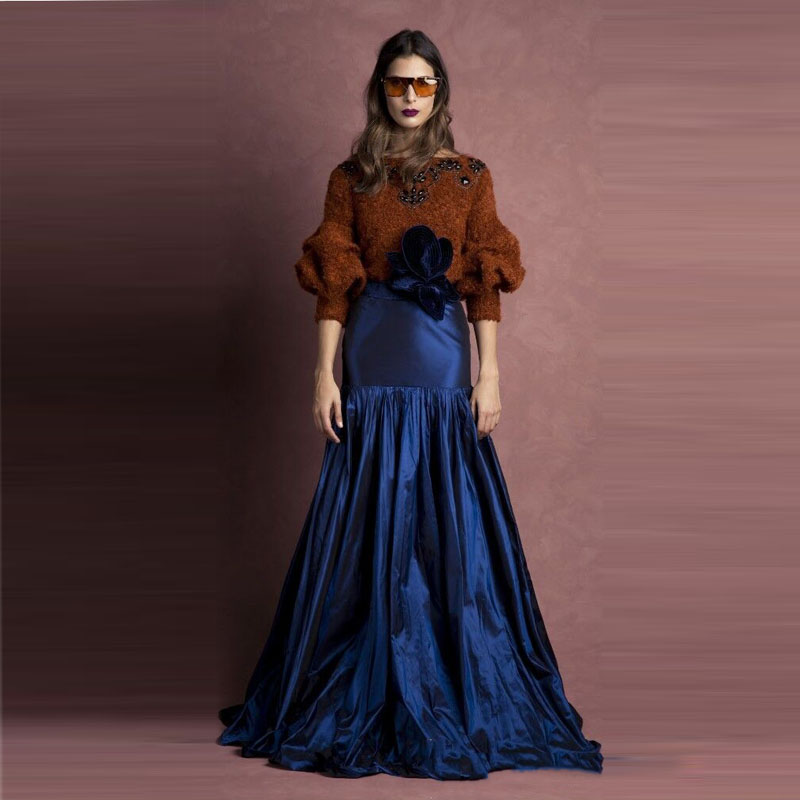 2018 New Navy Blue Long Evening Party Skirt For Women Unique Pleated Maxi Skirt With Hand Made Flower Custom Made Prom Skirt