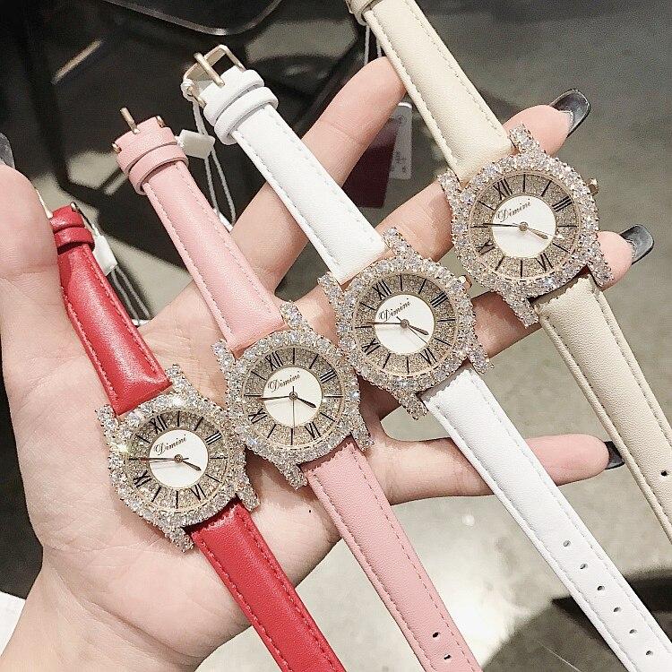 New Fashion Rose Gold Diamond Lady Watch Women New Rhinestone Dress Watches Luxury Leather Strap Women Quartz Watches - 5