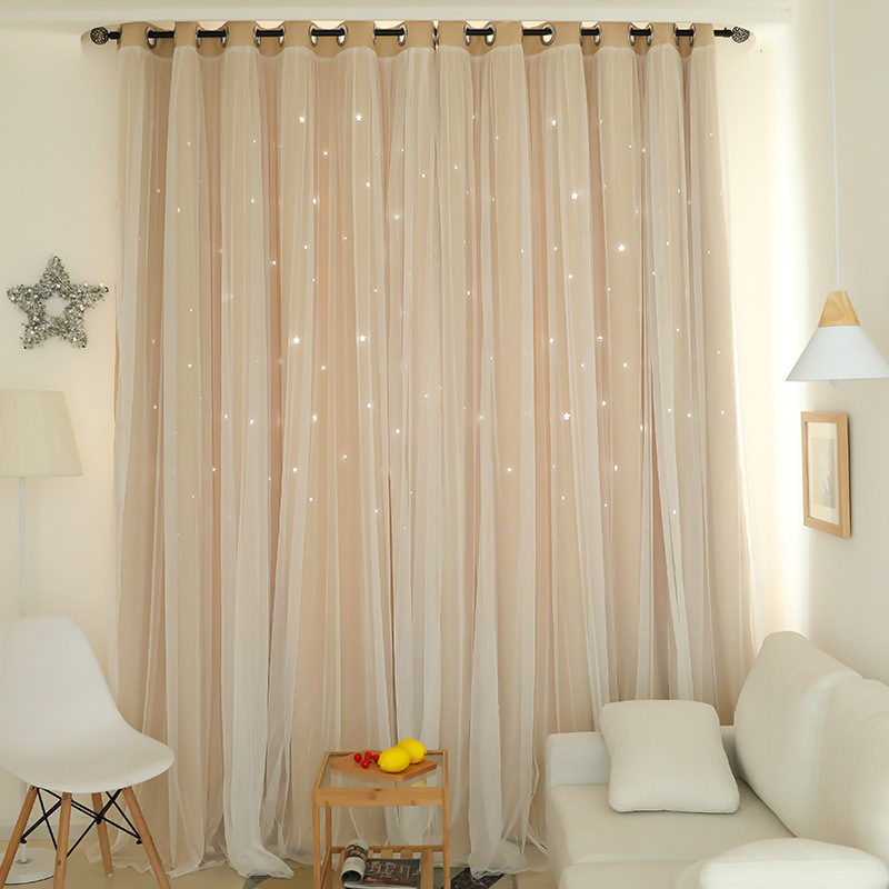US $6.7 48% OFF|Hollow Star Thermal Insulated Blackout Curtains for Living  Room Bedroom Window Curtain Blinds Stitched with white Voile-in Curtains ...