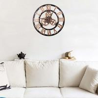 3D Round Wall Clock Gear Analog Roman Numeral Home Living Room Office Cafe Decor