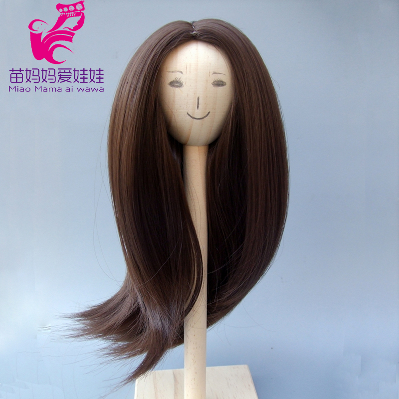 Natural Dark brown Color Soft High Temperature Straight Hair Wig for 1/3 1/4 1/6 doll for Russian handmade doll wigs