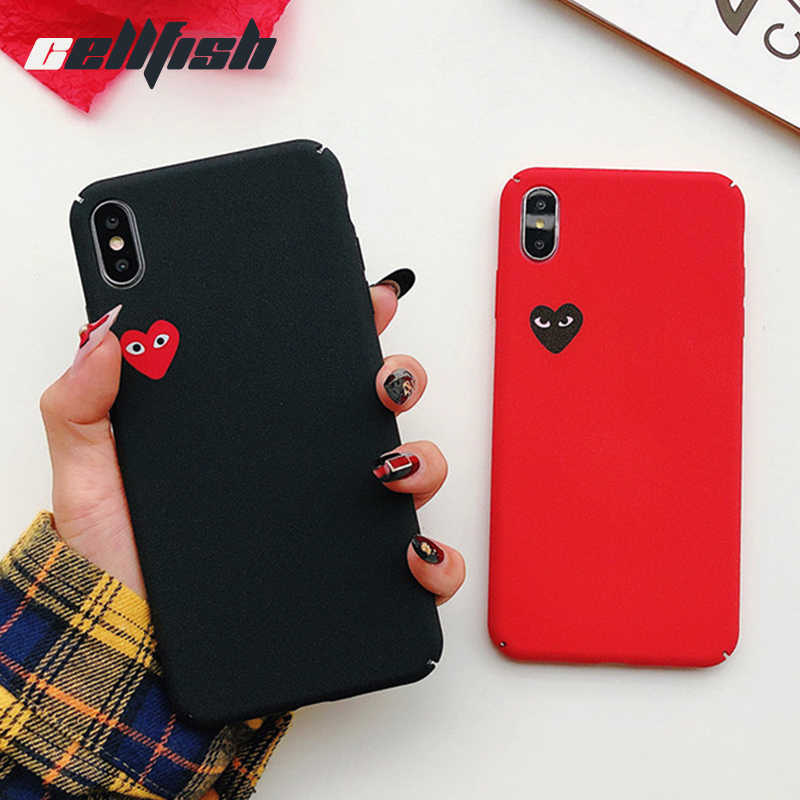 wholesale dealer ce43e 4a329 Love CDG Play Comme des Garcons Matte Cover Case for Apple iPhone 6S Plus 7  7plus Coque 8 8plus X 10 XR XS Max 360 Phone Case