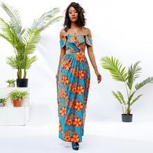 Shenbolen African dresses for women halter dress cotton wax print african clothes