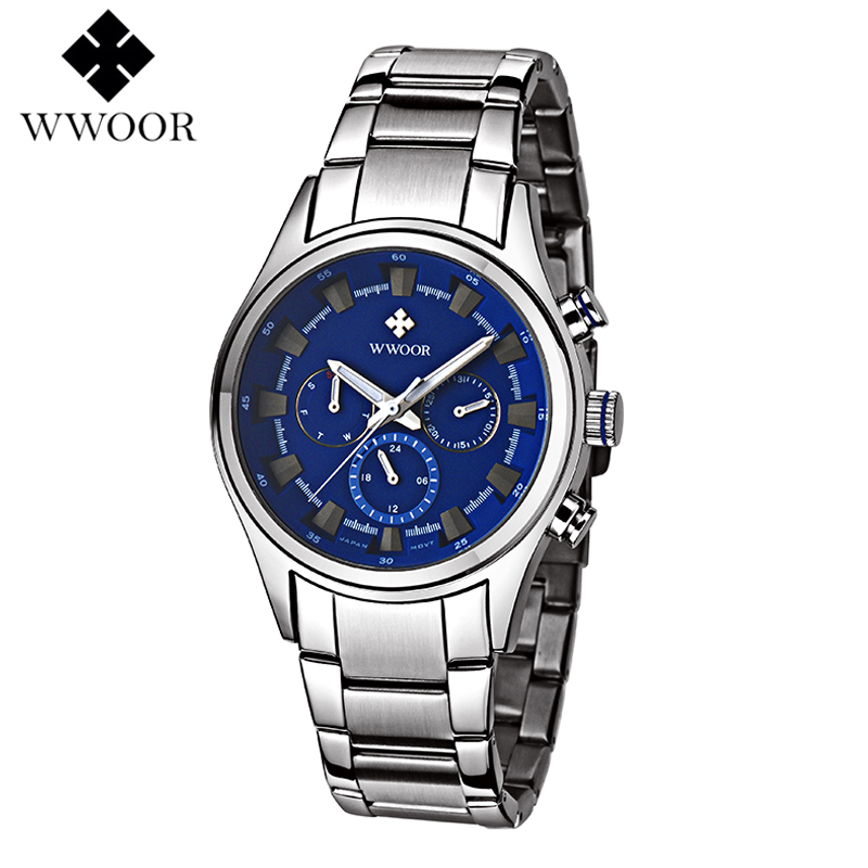 ФОТО WWOOR Men Wrist Watch Clock Top Luxury Brand Quartz Watches Mens Analog Chronograph Sports Military Stainless Steel Wristwatch