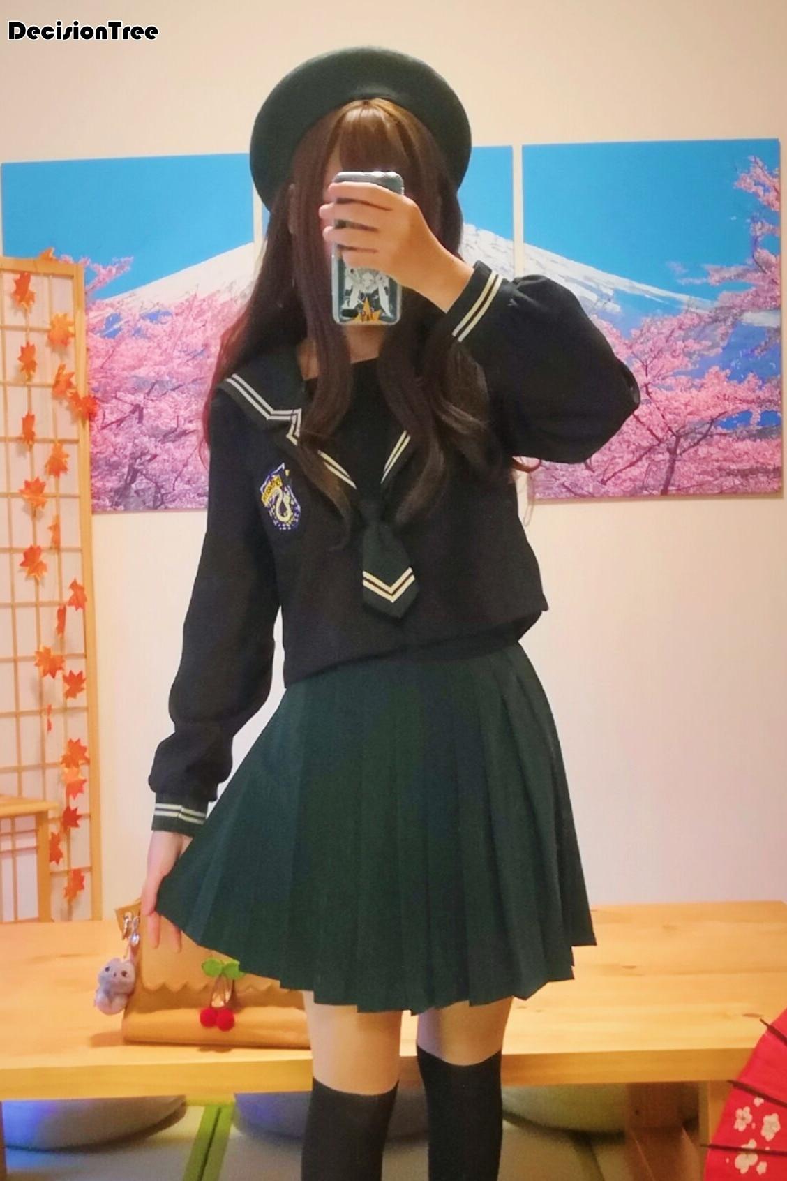 2019 coréen école uniforme filles jk marine marin costume pour femmes japonais école uniforme coton chemise + jupe