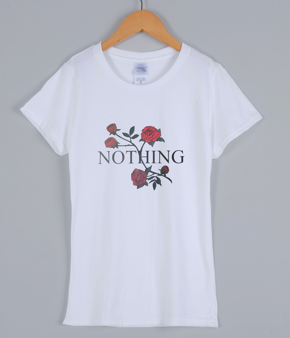 2019 Summer T-shirts For Women Nothing Letter Print T Shirt Rose Flower Harajuku Female T-shirt Brand Tee TShirt Punk Shirts Top