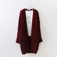 Womens Sweater Cardigan Coat 2018 Autumn New Korean Long Thickening Flowers Pocket Coarse Needle Wool Sweater