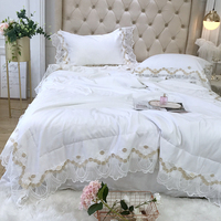 Luxurious European white Lace 3pcs 60S Tencel Quilt Pillowcase bedding Wedding Summer Air Conditioner Quilts Blanket bedspread#a