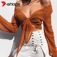 2019 Summer Women Blouses Ladies Casaul Long Sleeve Tie Up Knot Cropped Tops Beach Female Star Shirt Kimono Sexy Tops(China)