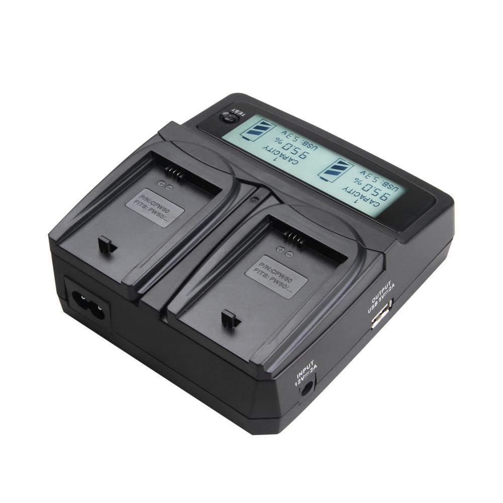 Udoli NP-FW50 NPFW50 NP FW50 סוללה רכב כפול מטען עם יציאת USB עבור Sony NEX-7 NEX-C3-NEX-5N NEX-3 NEX-5 NEX-F3 A37 A55 A33