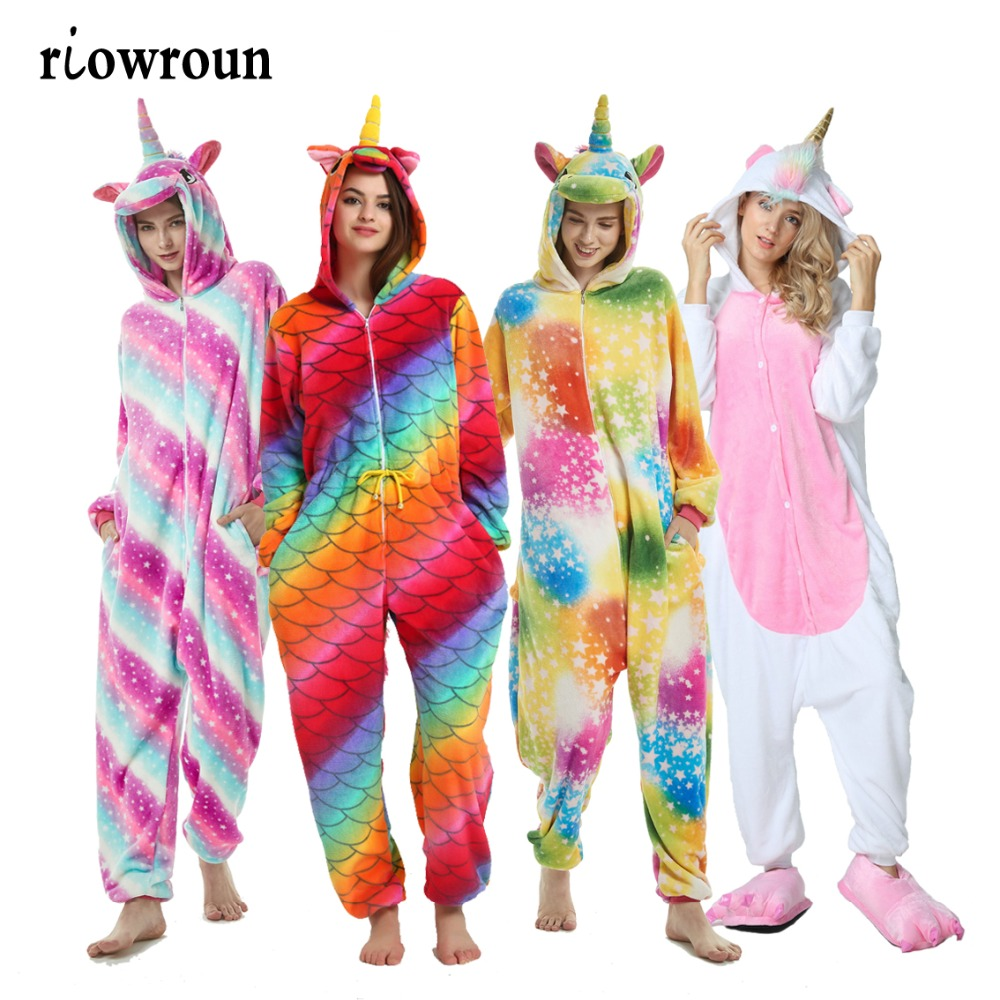 Women   Pajamas   Adult Anime   Pajamas     Sets   Cartoon Sleepwear Flannel Animal Unicorn Pijama Winter Warm Hooded New Style Halloween