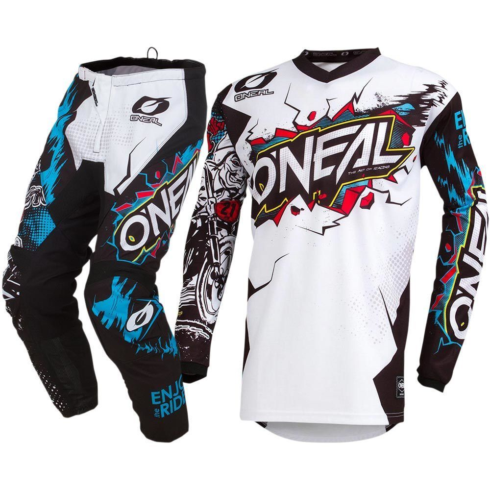 Hot sales 2019 MX Element Villain White Black Jersey Pants Motocross Gear Set mr froger carcharodon megalodon model giant tooth shark sphyrna aquatic creatures wild animals zoo modeling plastic sea lift toy