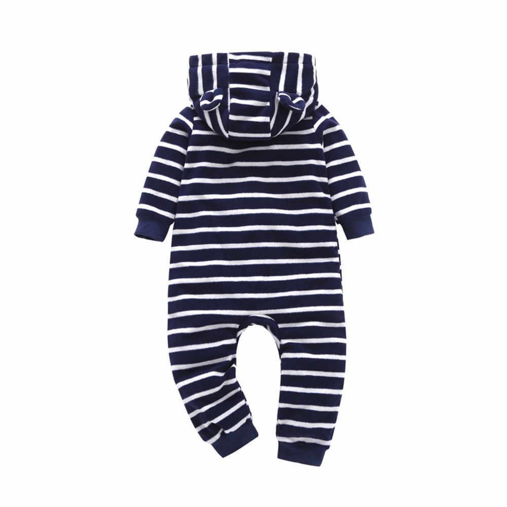 2dd495490c7 MUQGEW Fashion baby Winter clothes newborn romper Striped Hooded Romper  Jumpsuit kids clothing kombinezon zimowy dziecko rompers