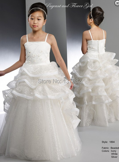 7d87555d56c Magical Beaded Tulle Skirt Macis Design Pageant Ball Gown Flower Girl  Dresses Floor-Length