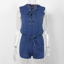Women Hooded Rompers Summer 2017 Fashion Cross Bandage Jumpsuit Short Sleeveless Casual Lace Up Playsuits And Jumpsuits Womens