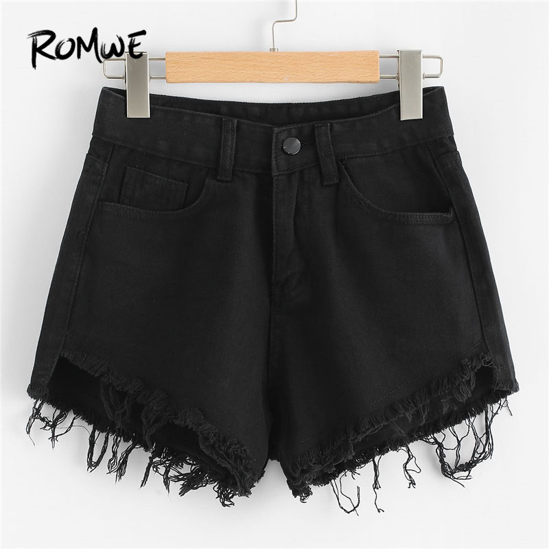 ROMWE Raw Hem Denim Shorts 2018 Mid Waist Button Fly Plain Casual Female Shorts New Summer Loose Women Clothes