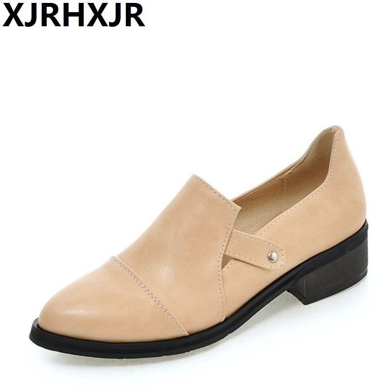 XJRHXJR Brand New Women Flats Shoe Pointed Toe Spring Summer Flats Vintage Women's Casual Shoes Woman Flat Heel Shoes Size 33-43 2017 womens spring shoes casual flock pointed toe narrow band string bead ballet flats flat shoes cover heel women flats shoes