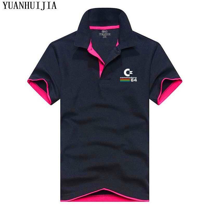 Новый бренд Commodore C-64 поло печати Для мужчин рубашки поло тонкий Для мужчин Camisa Поло Джерси футболка с коротким рукавом кофты Бесплатная дост...