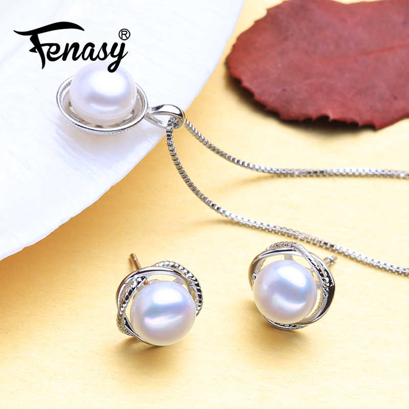 FENASY Natural Freshwater Pearl Jewelry Sets 925 Sterling Silver Necklace For Women Round Pendant With Pearl Stud Earrings