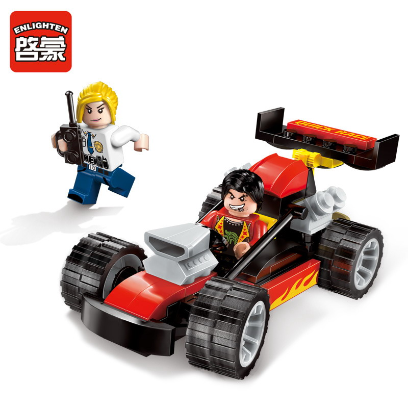 1904 ENLIGHTEN Police Series Police Race Car Chase Building Blocks Police Arrest DIY Figure Toys For Children Compatible Legoe city series police car motorcycle building blocks policeman models toys for children boy gifts compatible with legoeinglys 26014