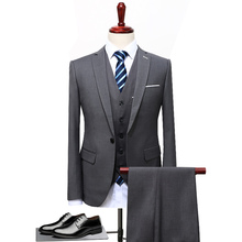 2018 Grey Black Blue Men Suit Slim Fit 3 Pieces Groom Tuxedo Formal Party Blazer Wedding Suits (Blazer+Pants+Vest) S-5XL