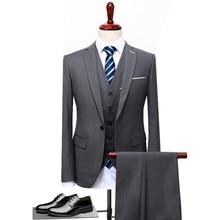 2018 Grey Black Blue Men Suit Slim Fit 3 Pieces Groom Tuxedo Formal Party Blazer Wedding Groom Suits (Blazer+Pants+Vest) S-5XL