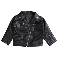 Child Clothing Toddler Kids Girls Clothing Faux Leather Jacket 2-7 Zippered Thin Coats Girl Costume Outwear
