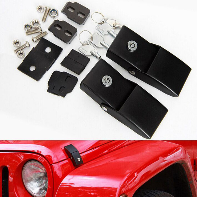 1 Pair Metal Black Engine Hood Lock Catches Latches Kits with Key for Jeep Wrangler 2007 2008 2009 2010 2012 2013 2014 2015