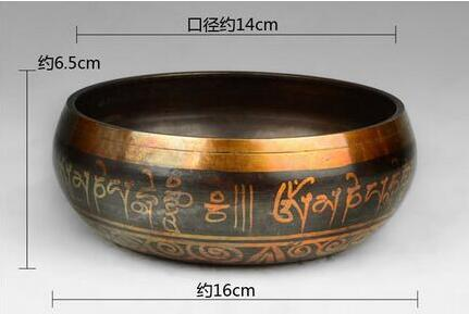 Brass Decoration Diameter 14cm Meditation Healing Genuine Glorious Yoga Old Rare Bowl Tibetan Copper Singing Bowls tibetan yoga of movement