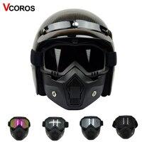 Hot Sales motorhelm Masker Afneembare Goggles met Mond Filter voor Half Open Helm & Vintage Helmen cosplay masker