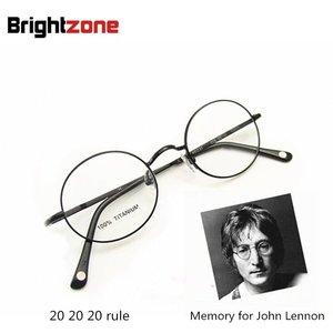 Image 2 - Ücretsiz kargo Vintage Fullrim John Lennon yuvarlak bahar menteşe saf titanyum gözlük gözlük çerçevesi óculos De Grau Femininos