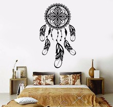 Art  Wall Sticker Dreamcatcher Wall Decoration Vinyl Art Removeable Poster Modern Decal Feathers Talisman Sticker LY167 colorful toys removeable wall sticker