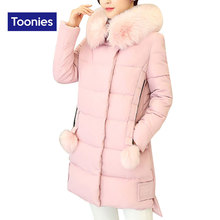 2017 High Quality Women's Winter Jacket Fashion Solid Big Fur Hooded Ladies Outerwear Cotton Long Down Coat Jackets Windbreakers