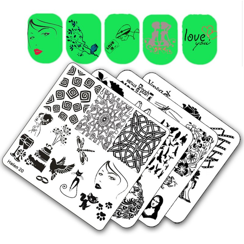Square Nail Templates Plate Flower Cake Girl Geometry Vehicle Stamping Template Manicure Stamp Image Plate