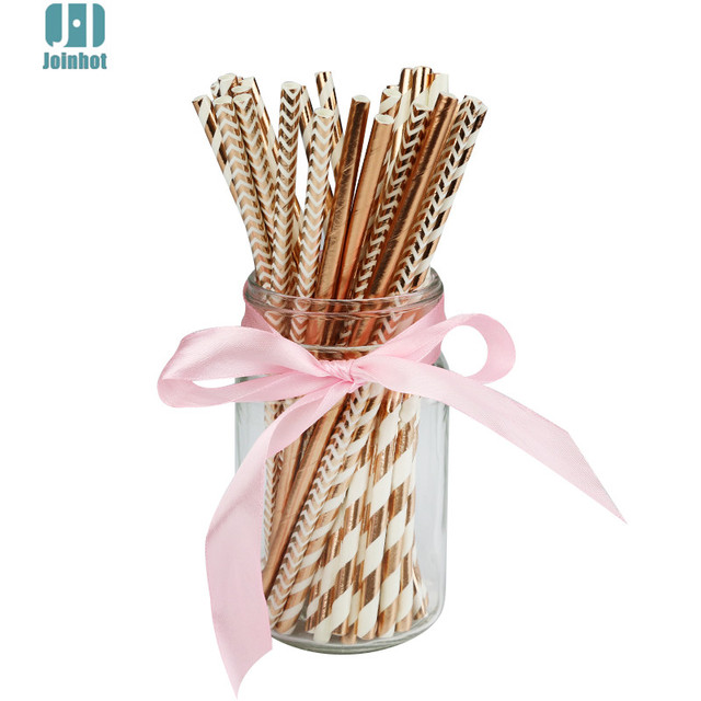 100pcs/ lot rose gold 4 designs striped and wave Foil Design Paper Straws for Birthday Wedding Party Baby Shower