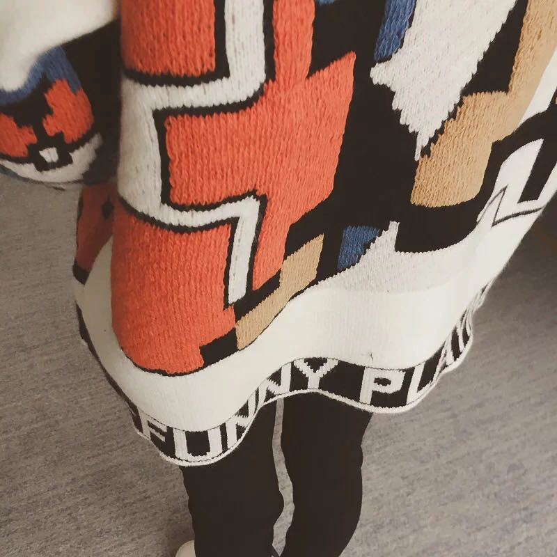 2018 outono Coreano nova carta cor imagem rodada long neck-sleeved pullover solta camisola camisa camisola 16